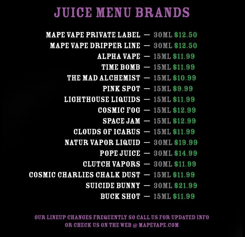 e-juice menu